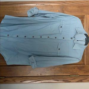 Maternity Denim-like button down blouse